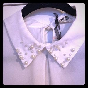 Tops - Pearls collared white blouse